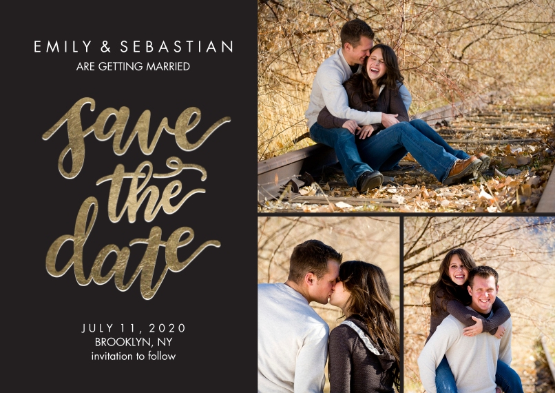 Save the Date 5x7 Cards, Standard Cardstock 85lb, Card & Stationery -Save the Date Gold Shimmer