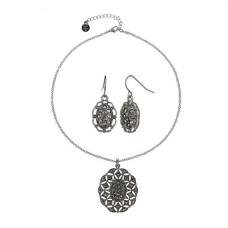 Liz Claiborne Gray Stone Silver-Tone Openwork Drop Earring and Necklace Set, One Size , Gray