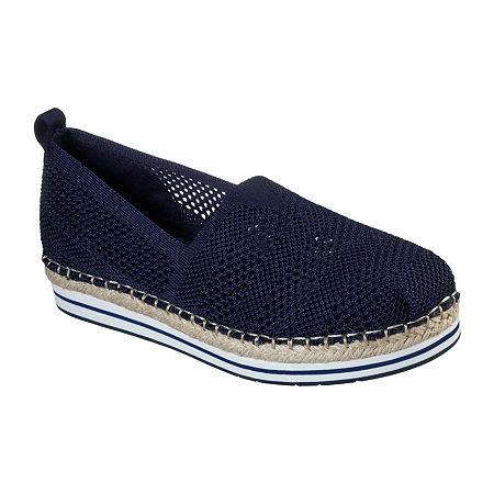 Skechers Bobs Womens Breeze - Bird Song Slip-On Shoe, 6 1/2 Medium, Blue