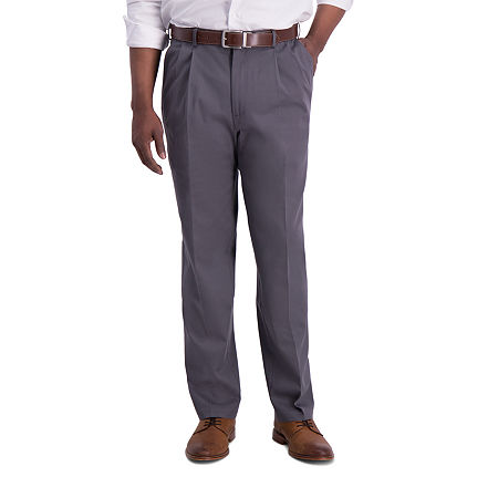 Haggar  Iron Free Premium Khaki Classic Fit Pleat Pants, 36 30, Gray