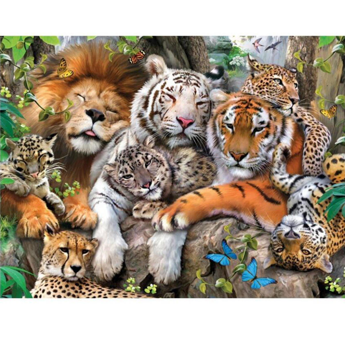 Animal Lion Tiger Cheetah DIY 5D Diamond Paintings Tool Embroidery Cross Stitch Decor
