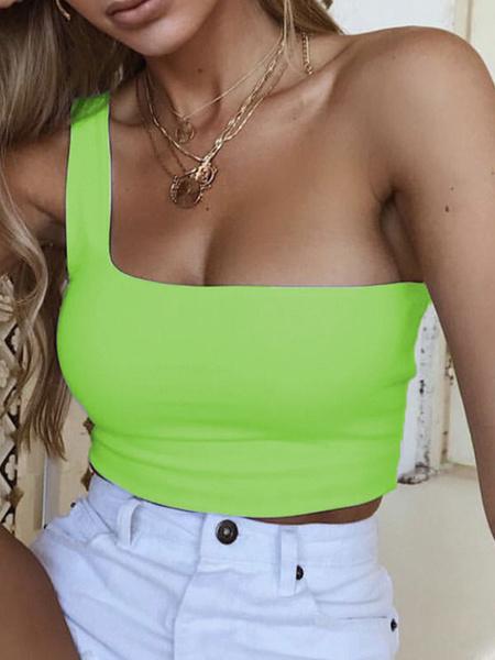 Milanoo Green Cami Top One-Shoulder Polyester Sexy Women Camis