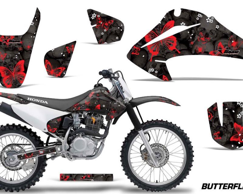 AMR Racing Dirt Bike Graphics Kit Decal Wrap For Honda CRF150   CRF230F 2003-2007áBUTTERFLIES RED BLACK