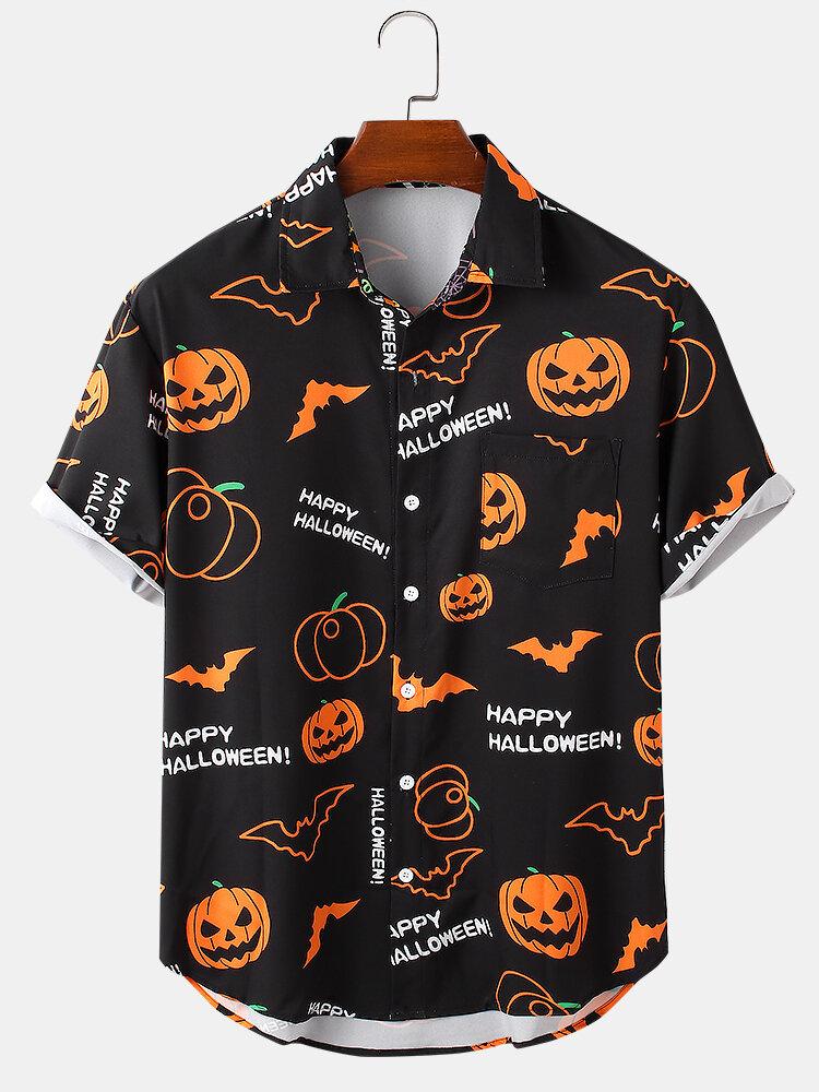 Mens Halloween Pumpkin Cartoon Funny Party Short Sleeve Shirts