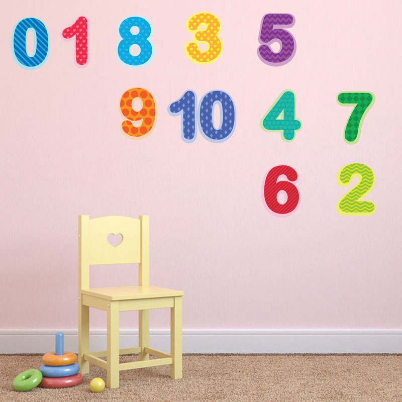 Colourful Number Self-adhesive Safe Non-toxic Abstract Wall Stickers PVC Wall Decals
