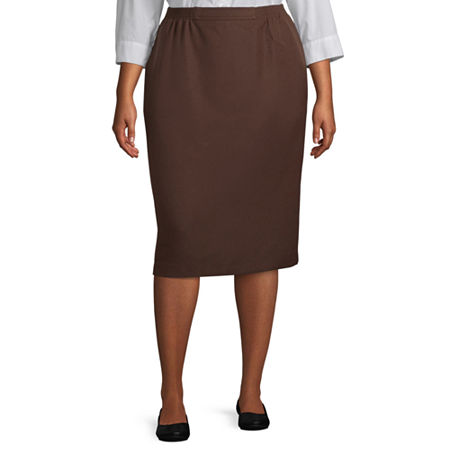 Alfred Dunner Suiting Womens Pencil Skirt-Plus, 22W , Brown