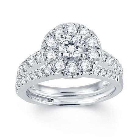 Modern Bride Signature 2 CT. T.W. Diamond 14K White Gold Engagement Ring, 6 1/2 , No Color Family