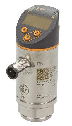 ifm electronic Pressure Sensor for Fluid , 600bar Max Pressure Reading Analogue + PNP-NO/NC Programmable