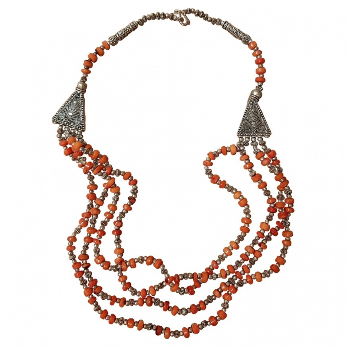 Non Signé / Unsigned Corail Orange Silver Plated necklace for Women \N