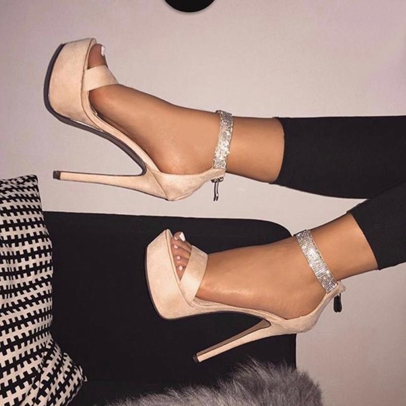 Ericdress PU Rhinestone Platform Stiletto Heel Zipper Women's Sandals