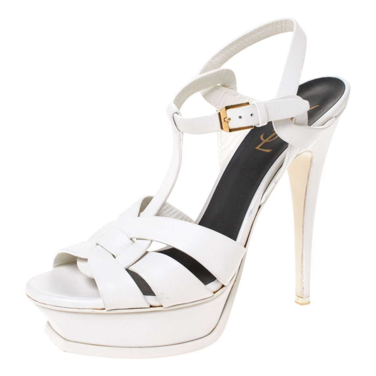Saint Laurent \N White Leather Sandals for Women 8 US