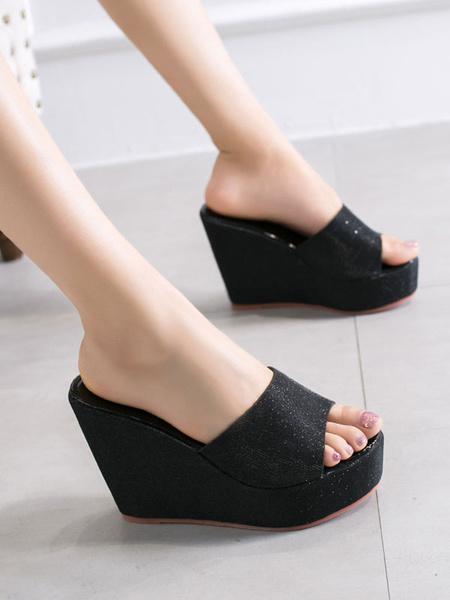 Milanoo Womens Wedge Sandals Glitter Gold Open Toe Slides Backless Summer Shoes