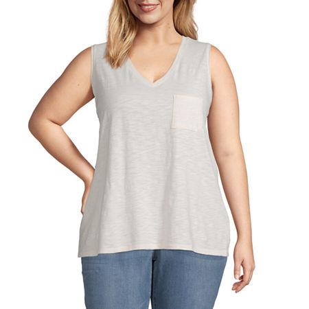 a.n.a-Plus Womens Tank Top, 0x , White