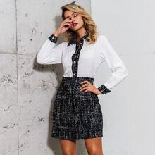 Glamaker Mixed Media Button Front Shirt Dress