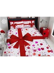 3D Love Present Cartoon Christmas Duvet Cover Set 4-Piece Soft Bedding Sets