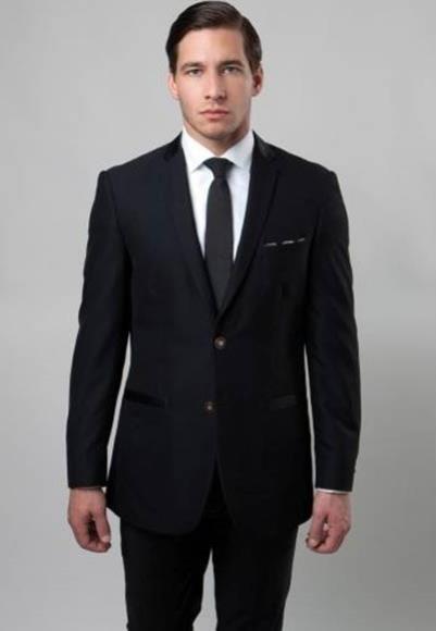 Mens Slim Fit 2 Button Notch Single Side Vent Black Poly Rayon Suit