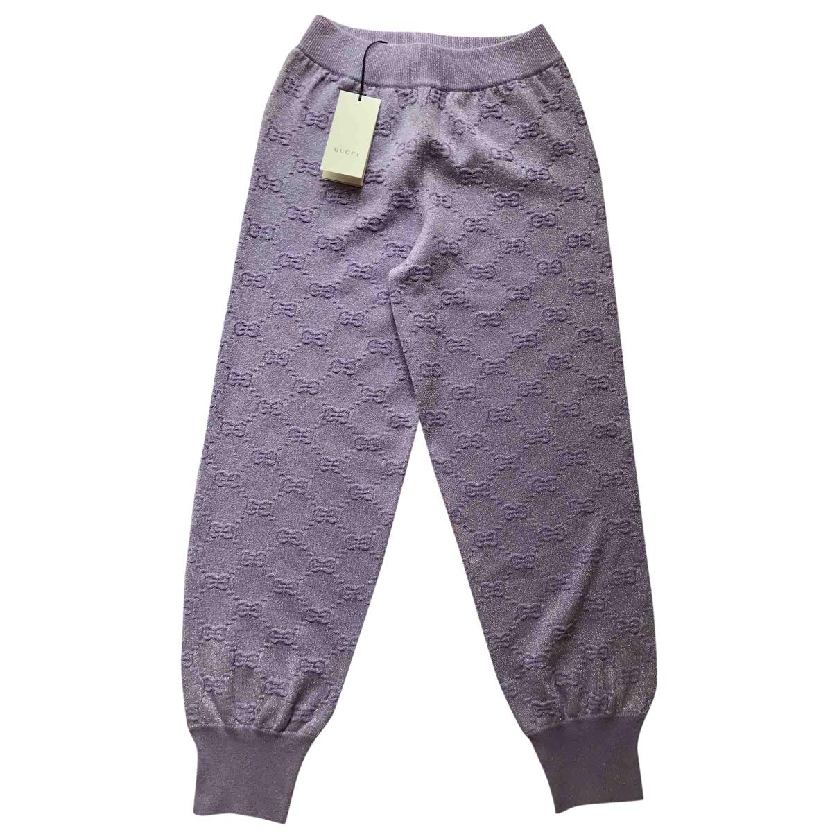 Gucci \N Purple Wool Trousers for Women S International