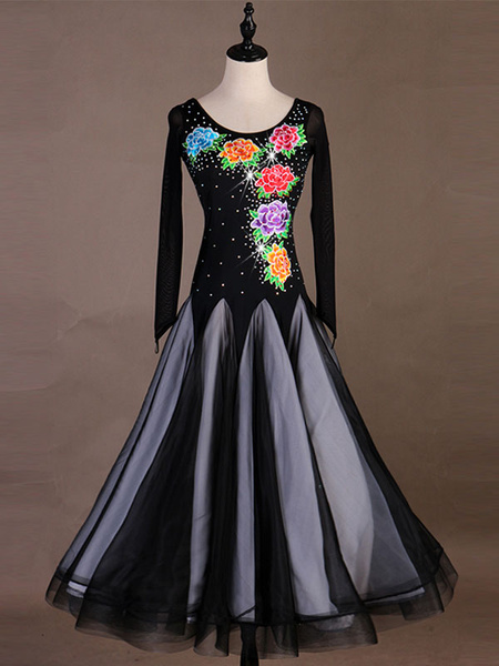 Milanoo Ballroom Dance Costumes Black Women Tulle Dress Bead Applique Dance Wear Halloween