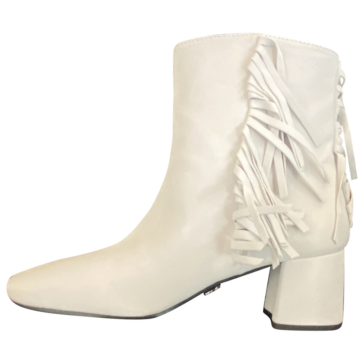 Prada \N White Leather Ankle boots for Women 40 EU