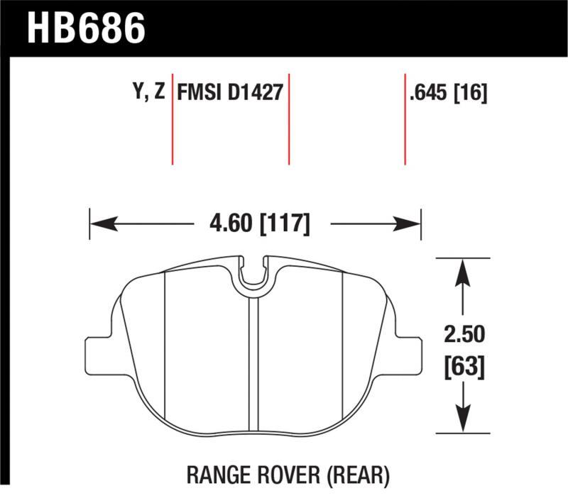 Hawk Performance HB686Y.645 Disc Brake Pad Land Rover Rear