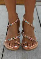 Floral Colorful Rhinestone Slip On Flat Sandals - Light Brown