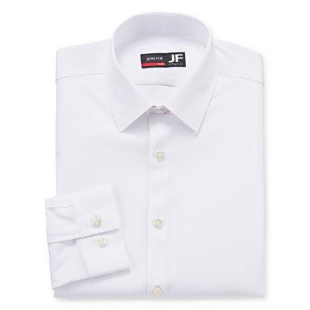 JF J.Ferrar Mens 4-Way Stretch Performance Long Sleeve Dress Shirt - Slim, 14-14.5 32-33, White