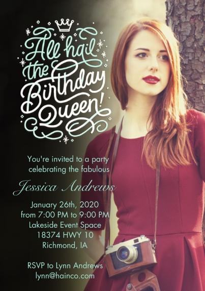 Birthday Party Invites 5x7 Cards, Standard Cardstock 85lb, Card & Stationery -Birthday Queen Coronation by Hallmark