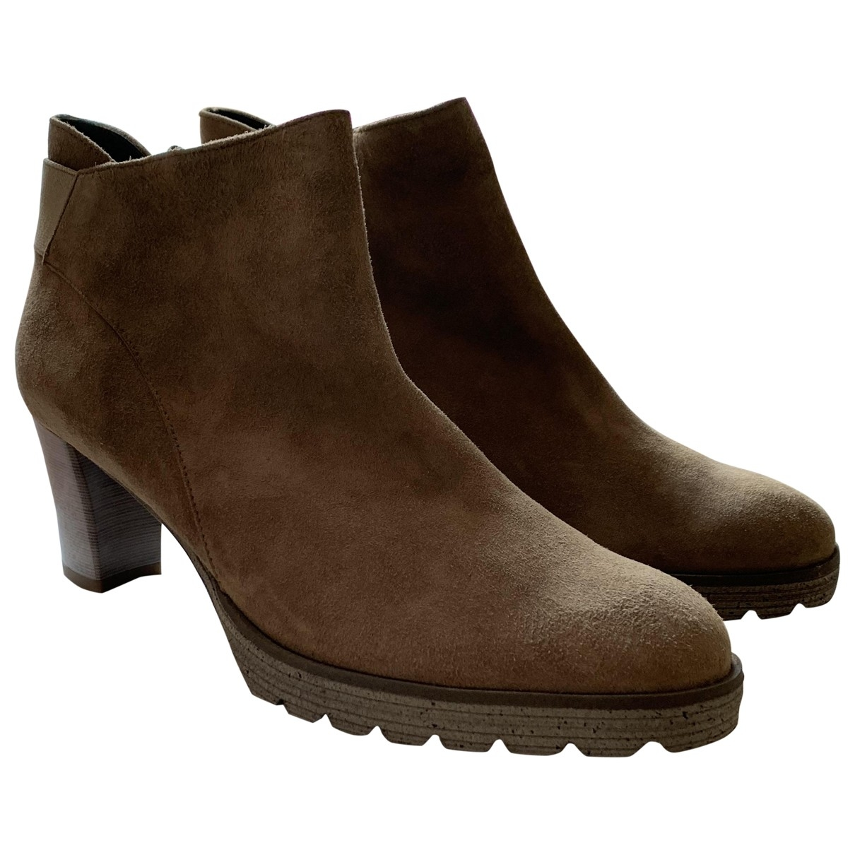 Non Signé / Unsigned \N Camel Leather Ankle boots for Women 38.5 EU