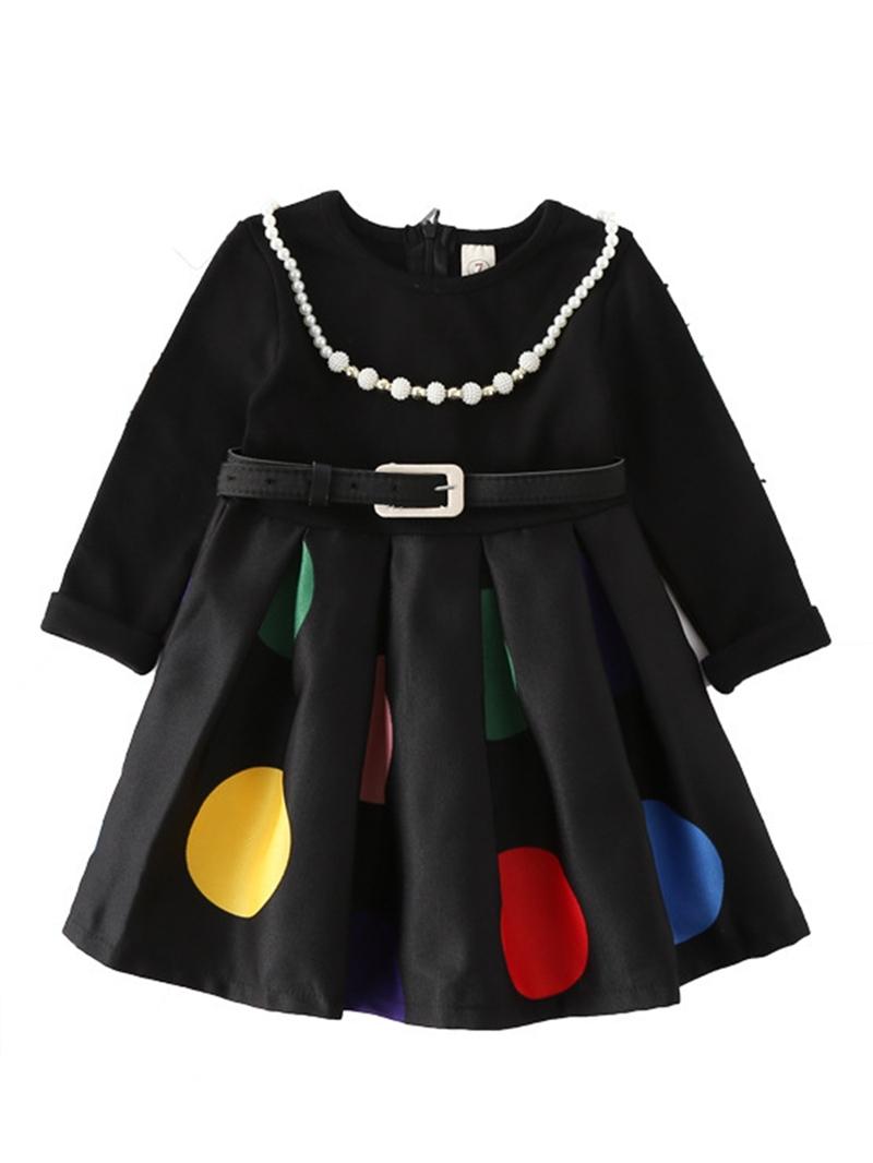 Ericdress Polka Dots Belt Long Sleeve Girl's A-Line Dress