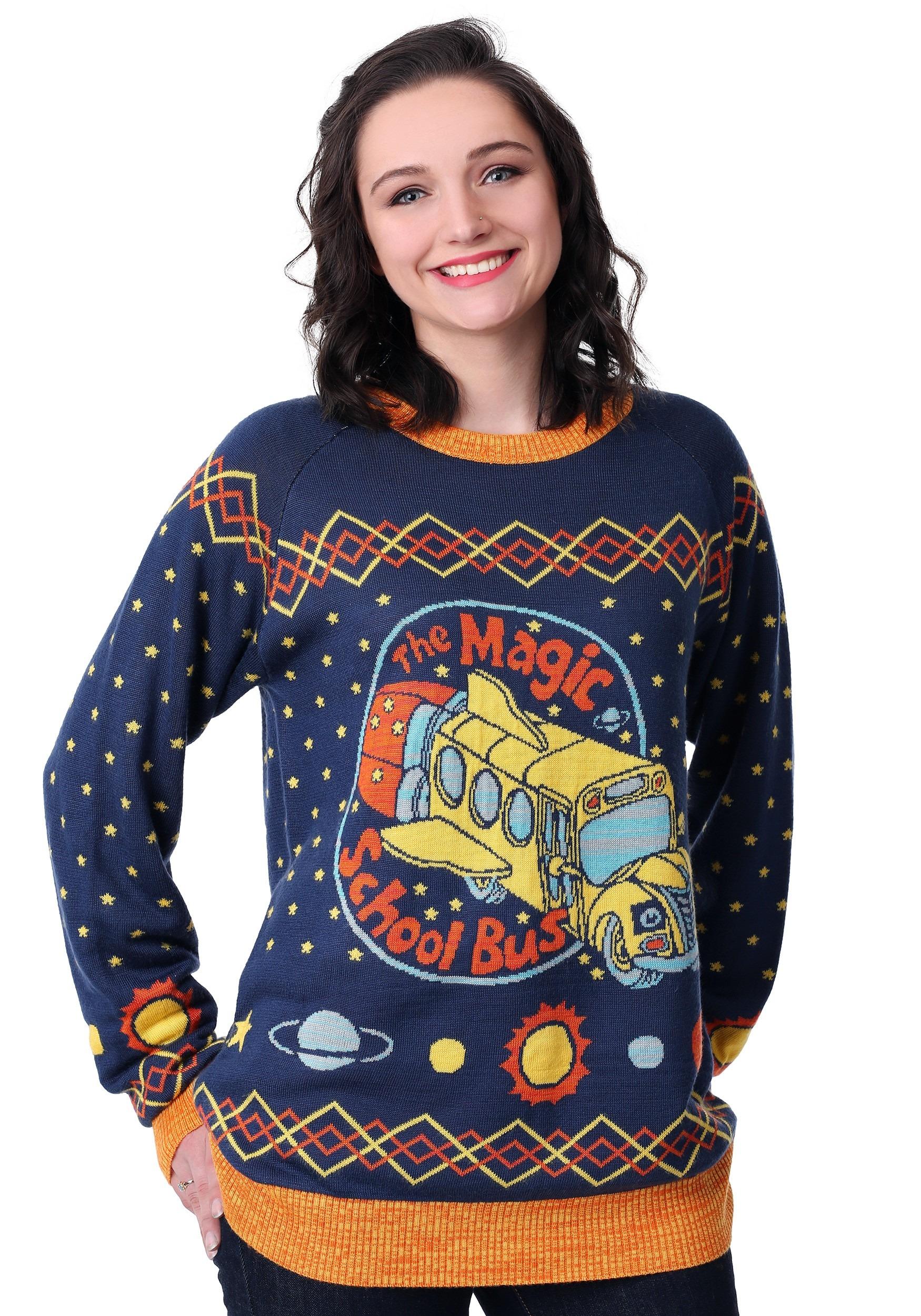 Adult Magic School Bus Ugly Christmas Sweater