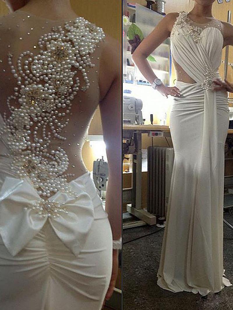 Ericdress Jewel Neck Pearls Sheath Wedding Dress