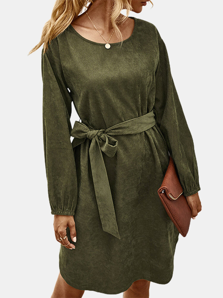 Solid Color Lace -up Long Sleeves O-neck Corduroy Dress