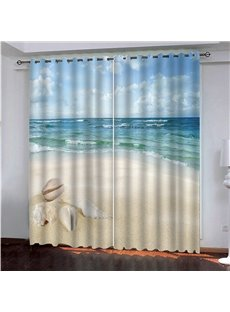 3D Scenery High-quality Blackout Curtain with White Beach and Blue Sea