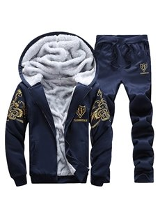 Jacket Pants Print Sports Style Zipper Long Sleeve Men's Tracksuits