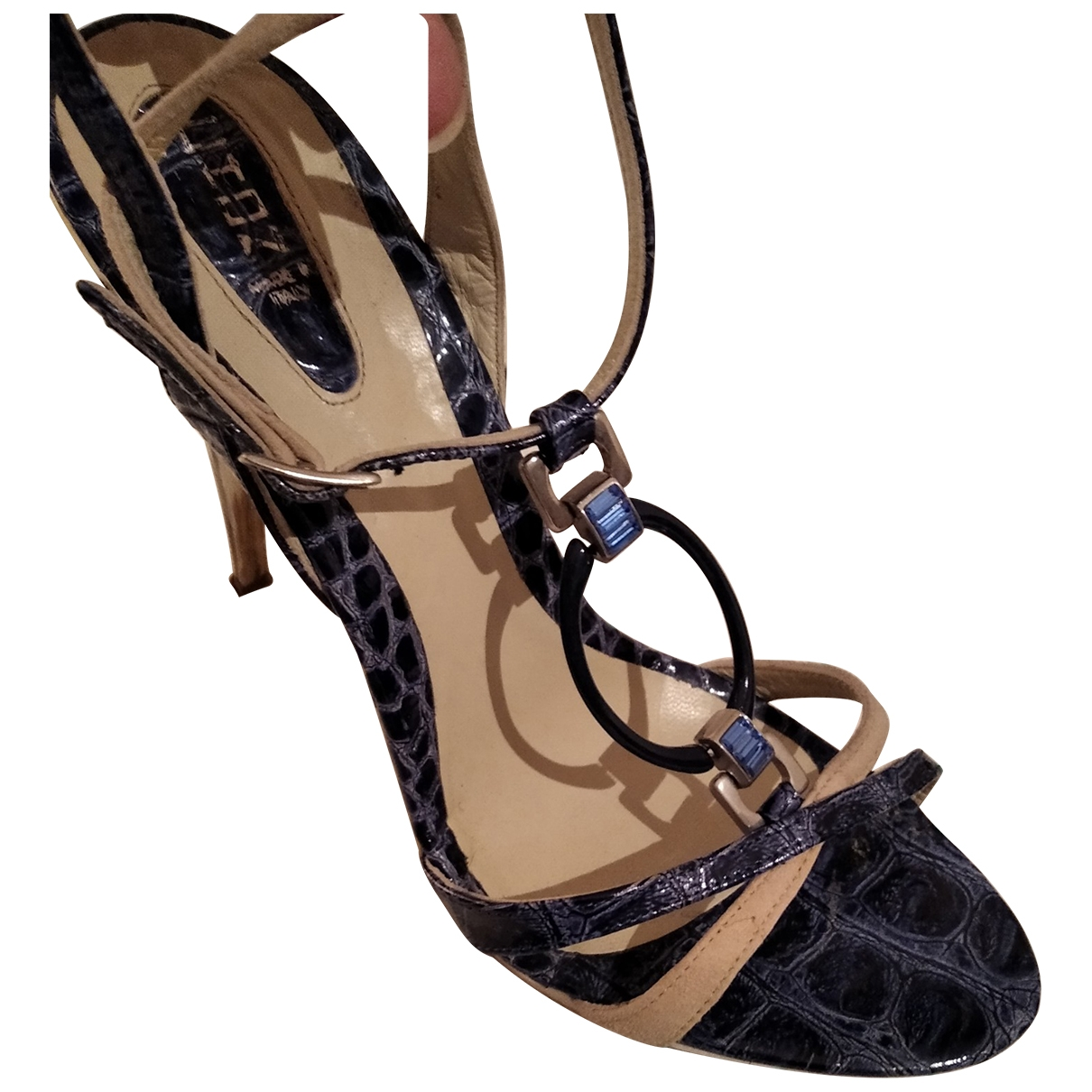 Non Signé / Unsigned \N Blue Leather Sandals for Women 40 EU