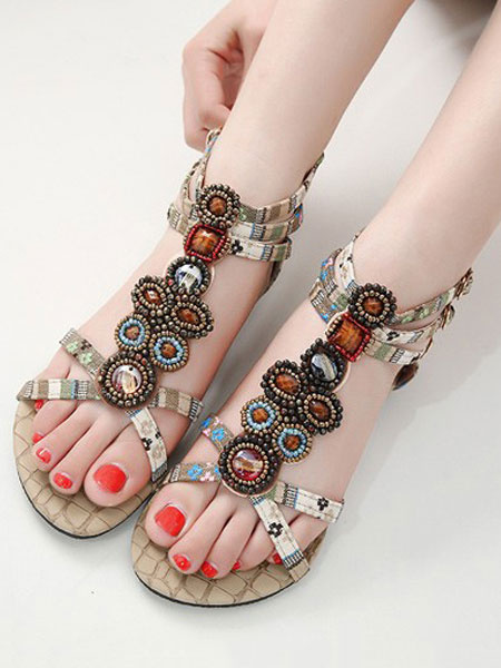 Milanoo Boho Flat Sandals Burgundy Open Toe T Type Beaded Ankle Strap Sandal Shoes