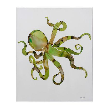Stylecraft Octopus Green Wood Canvas Art, One Size , Yellow