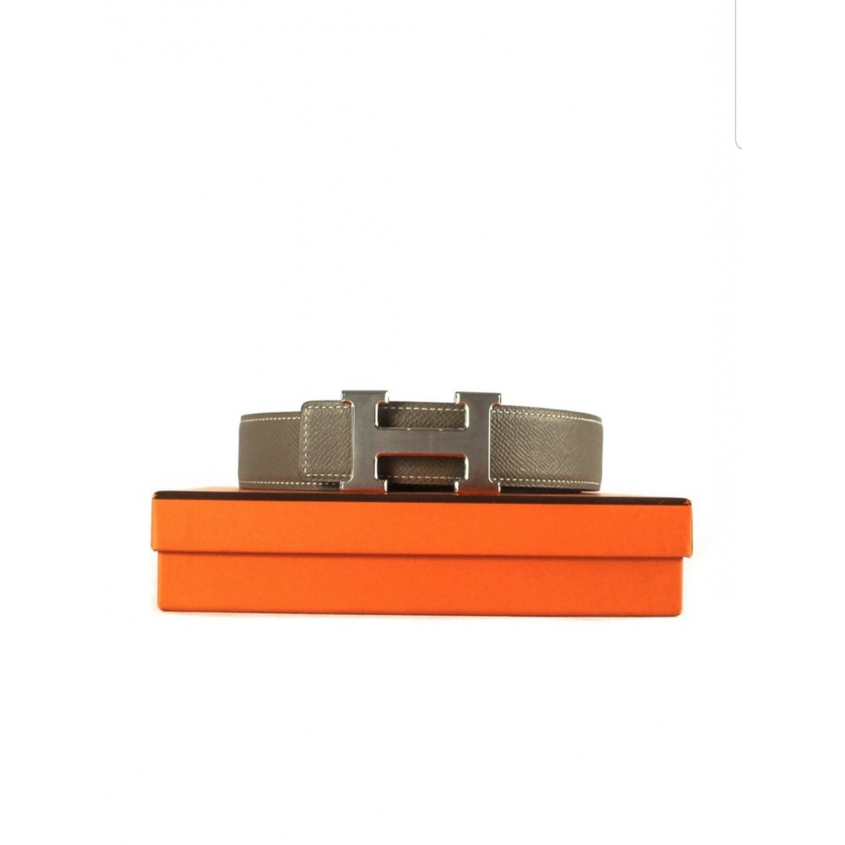 Hermès H Grey Leather belt for Women 31 Inches