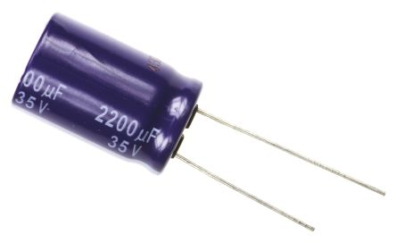 Panasonic 2200μF Electrolytic Capacitor 35V dc, Through Hole - ECA1VM222 (50)
