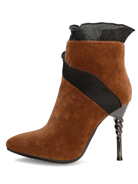 Milanoo Women Ankle Boots Suede Pointed Toe Stiletto Heel 4.3 Modern Booties