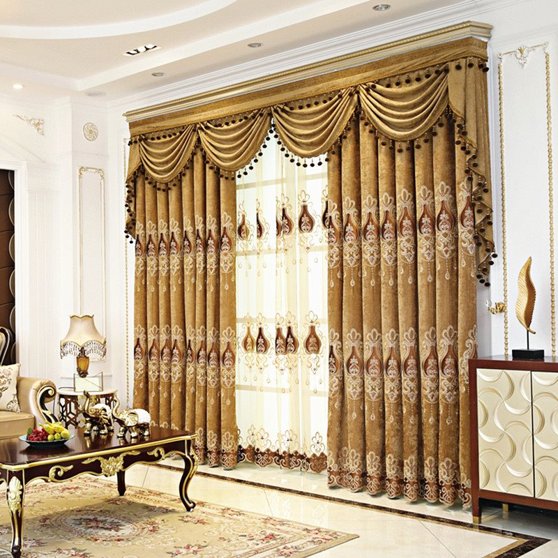 European Style Elegant Heat Insulation 3 Colors Custom Blackout Decorative Curtain Panels