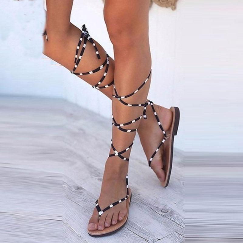 Ericdress Thong Block Heel Lace-Up Women's Flat Sandals