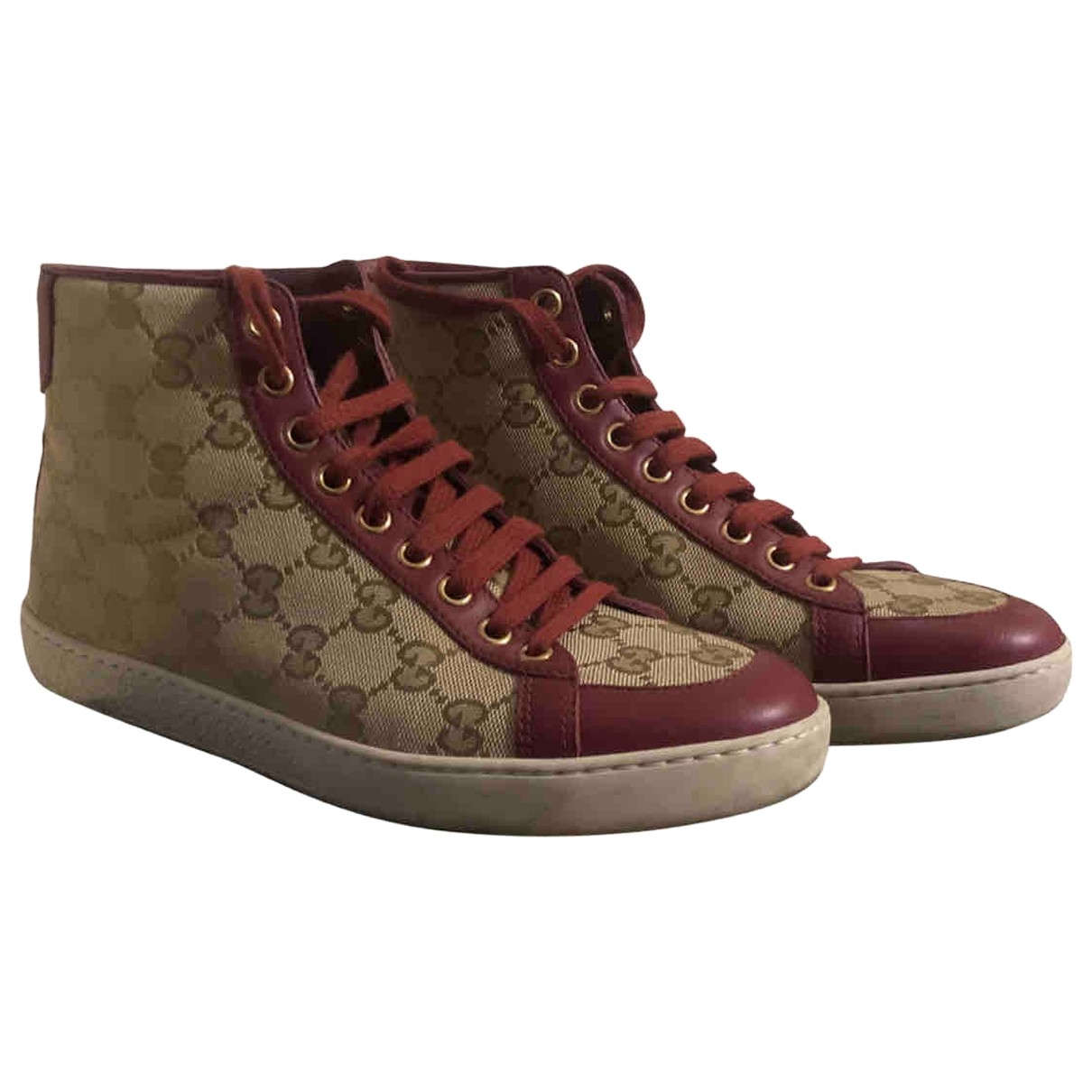 Gucci \N Burgundy Cloth Trainers for Women 37 EU