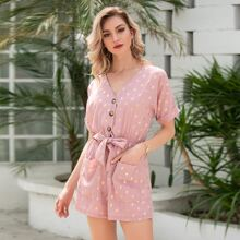 All Over Print Knot Waist Roll Up Sleeve Romper