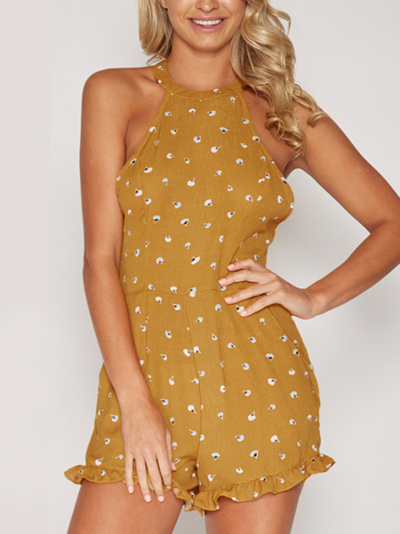 Yoins Yellow Halter Wave Point Backless Playsuit