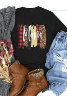 Leopard Plaid Mom O-Neck T-Shirt Tee - Black
