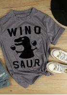 Winosaur Dinosaur Printed Short Sleeve T-Shirt Tee