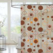 Circle Print Shower Curtain With 12hooks