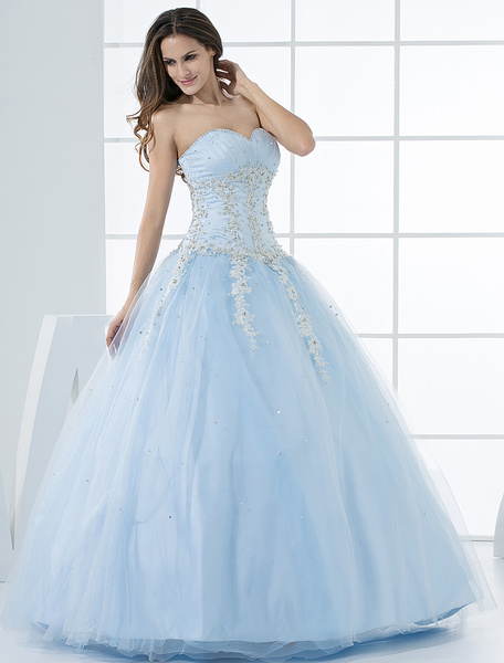 Milanoo Princess Wedding Dresses Pastel Blue Quinceanera Dress Lace Applique Sweetheart Strapless Beading Tulle Floor Length Bridal Gown