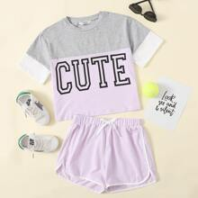 Girls Letter Graphic Colorblock Top & Dolphin Shorts Set